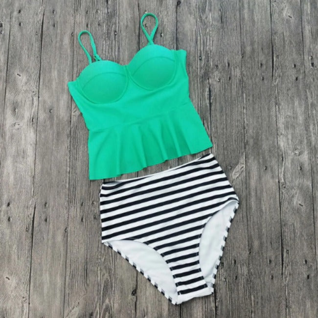 Retro Peplum Top Two Piece Swimsuit-Boots N Bags Heaven