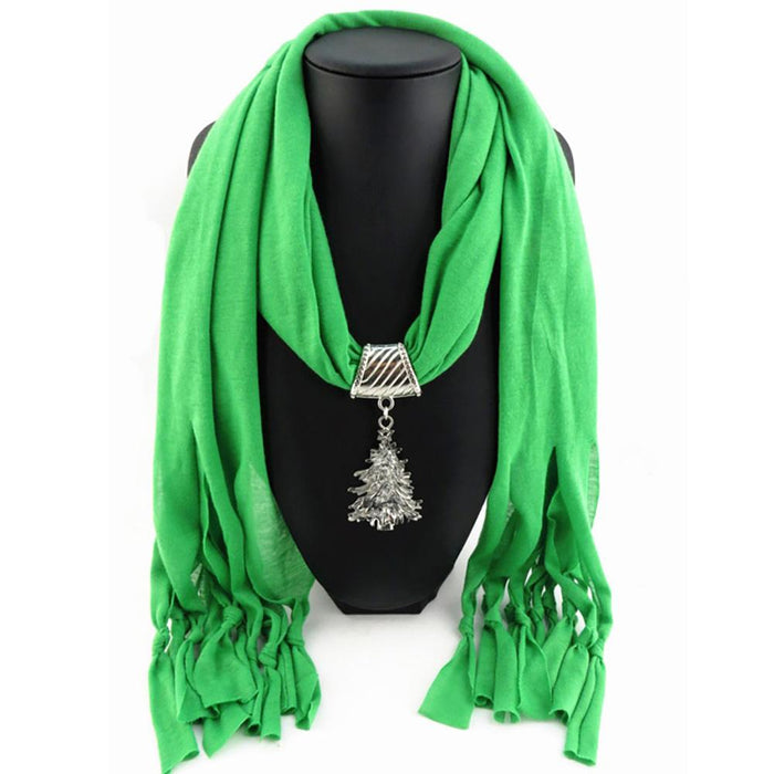 Multi Style Bohemian Scarf With Pearl Tassel Pendant - Summer Chiffon Fringe Scarf With Necklace - Exclusive Collection