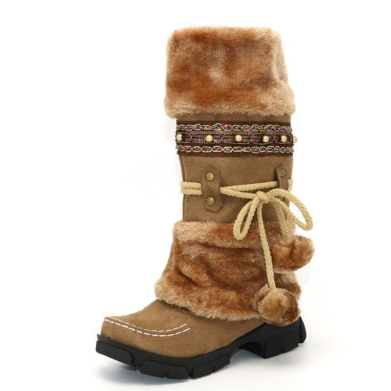 Winter Sexy Bohemian Boots Womens Plush Snow Boho Boots Furry Boots- Cute  Winter Boots 960f0988f