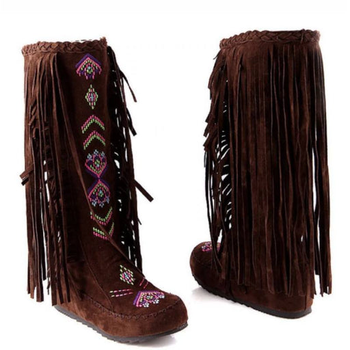 Knee High Native American Moccasin Boots - Indian Fringe Winter Fashion Boots-Boots N Bags Heaven