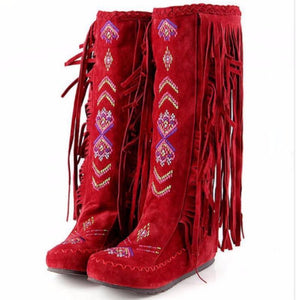 Native American Fashion Winter Boots Indian - Knee High Native American Moccasin Boots - Indian Fringe Winter Fashion Boots
