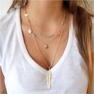 Necklace Jewelry Multi-Chain Feather Long Necklace - Multi-Chain Feather Long Necklace