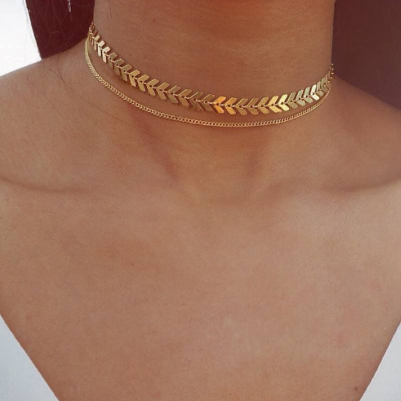 Two-Layer Flat Chain Choker Necklace-Boots N Bags Heaven
