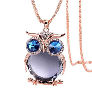 Necklace Jewelry Vintage Rose Gold Glass Owl - Vintage Rose Gold Glass Owl