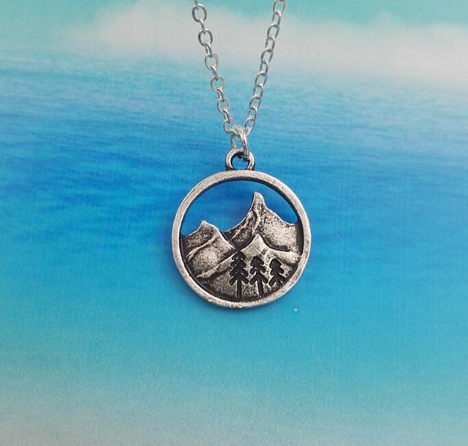 Wanderlust Outdoor Camping Pine Tree Pendant Necklace-Boots N Bags Heaven