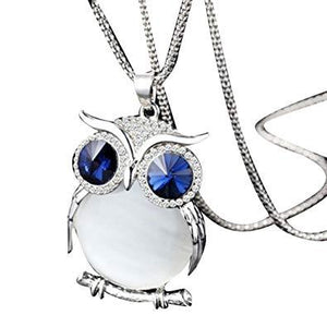 Necklace Vintage Silver Glass Owl Necklace - Vintage Silver Glass Owl Necklace