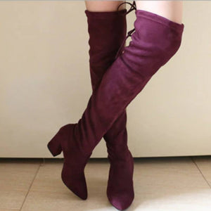 Over The Knee High Heel Over The Knee Winter Boots Winter Above The Knee Lace Up Boots - Winter Above The Knee Lace Up Boots