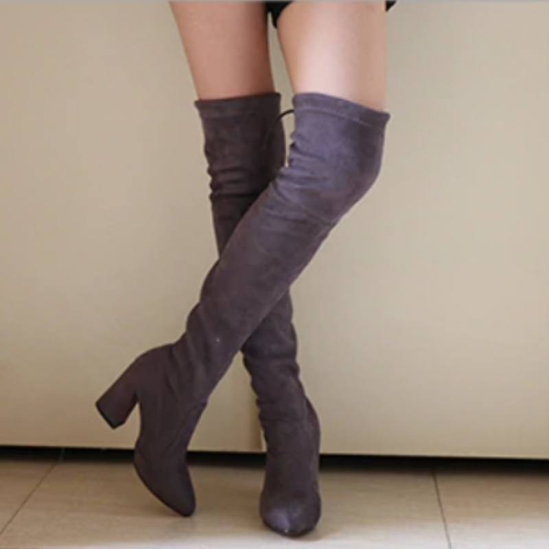 8daae0d7952 Over The Knee High Heel Over The Knee Winter Boots Winter Above The Knee  Lace Up