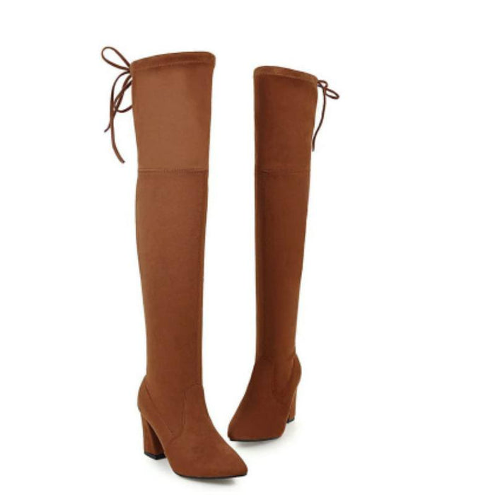 Winter Above the Knee Lace Up Boots-Boots N Bags Heaven