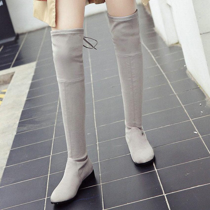 Low Square Heel Over The Knee Boots-Boots N Bags Heaven