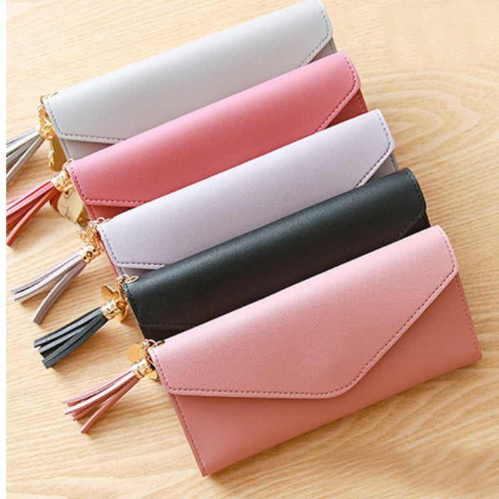 Pastel Heart Tassel Envelope Long Wallet-Boots N Bags Heaven