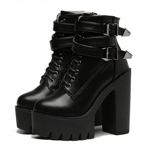 Platform Boots - Buckle Lace Up Leather Boots