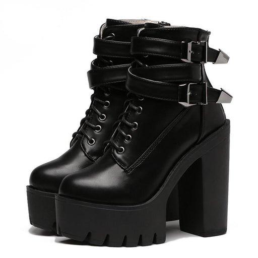 Buckle Lace Up Leather Boots-Boots N Bags Heaven