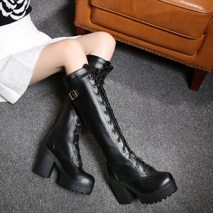 Platform Boots Knee High Lace Up Black Gothic Platform Boots - Knee High Lace Up Black Gothic Platform Boots