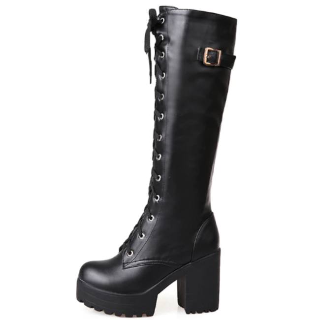 Knee High Lace Up Black Gothic Platform Boots-Boots N Bags Heaven