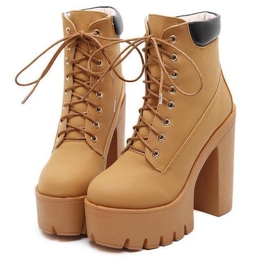 Lace Up Platform Ankle Boots-Boots N Bags Heaven