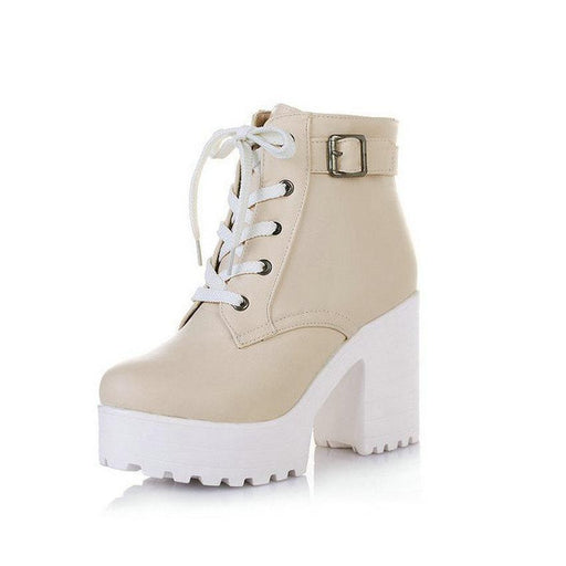 Stylish Lace Up Platform Ankle Boots-Boots N Bags Heaven