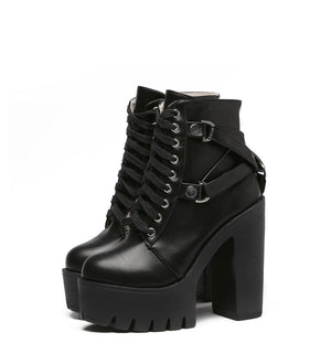 Platform Boots - Lace Up Soft Leather Ankle Boots