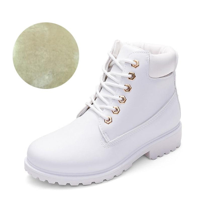 Winter Wonderland Lace Up Plush Ankle Boots-Boots N Bags Heaven