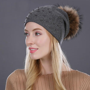 Pompom Cashmere And Cotton Winter Beanie - Pompom Beaded Winter Beanie