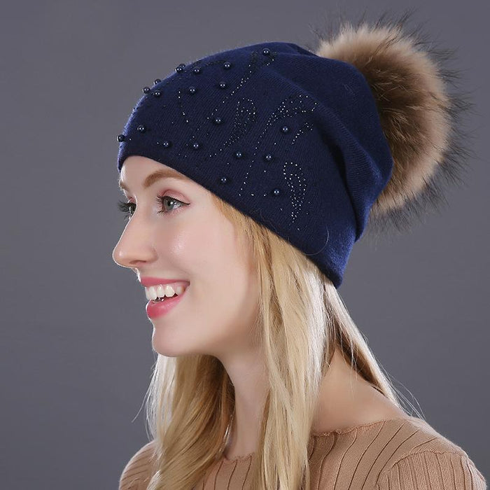 Pompom Beaded Winter Beanie-Boots N Bags Heaven