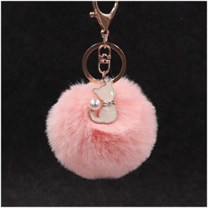 Pompom Fur Ball Cat Keychain - **FREE** Pompom Fur Ball Cat Keychain
