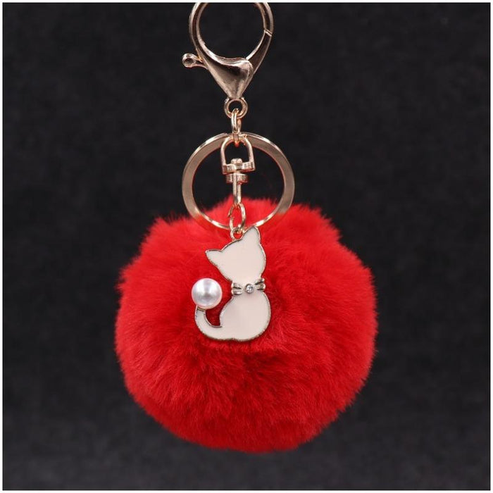 Pompom Fur Ball Cat Keychain-Boots N Bags Heaven