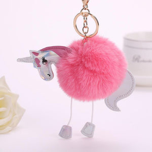 Pompoms - Fluffy Unicorn Pompom Keychain