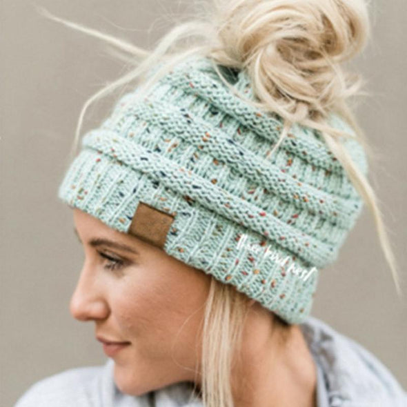 74c680a83 Ponytail Beanie Messy Bun Beanie Winter Hat With Hole For Ponytail
