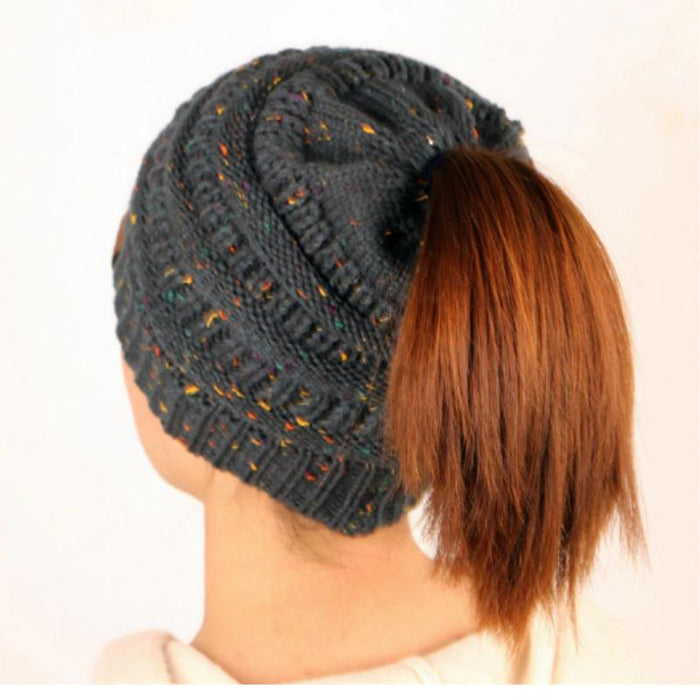 Ponytail Beanie Messy Bun Beanie Winter Hat With Hole For Ponytail-Boots N Bags Heaven
