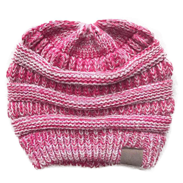 BNB Messy Bun Ponytail Beanie Knitted Winter Hat-Boots N Bags Heaven