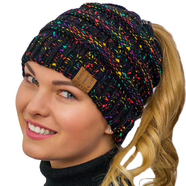 Ponytail Messy Bun Beanie Knitted Winter Hat - BNB Heaven Beanietail -  Ponytail Messy Bun Beanie 290d51fa02e