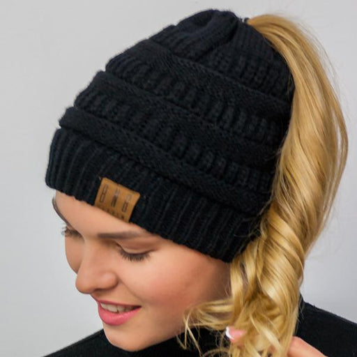Ponytail Messy Bun Beanie Knitted Winter Hat - BNB Heaven Beanietail-Boots N Bags Heaven