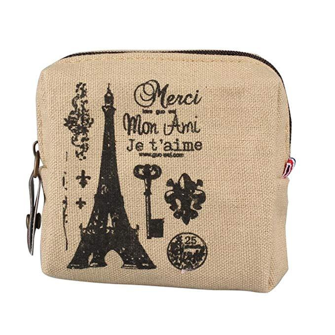 Retro Paris Canvas Pouch-Boots N Bags Heaven
