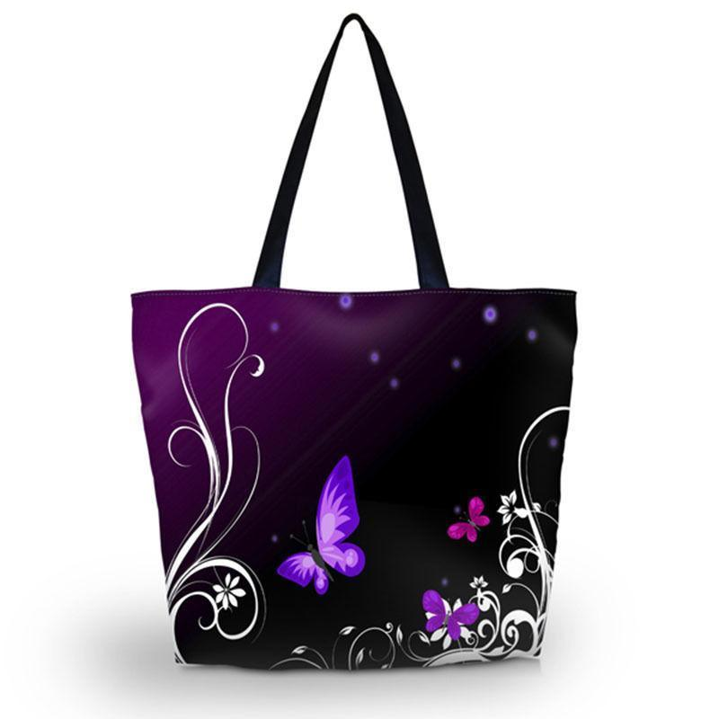 Foldable Purple Butterfly Tote Bag-Boots N Bags Heaven