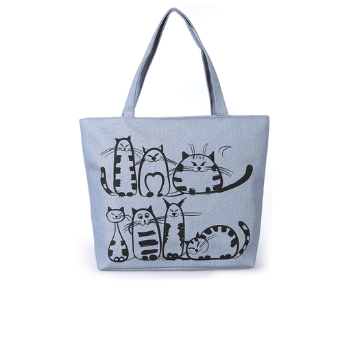 Printed Cats Canvas Tote Bag-Boots N Bags Heaven