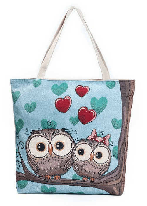 Printed Owls Canvas Tote Bag-Boots N Bags Heaven