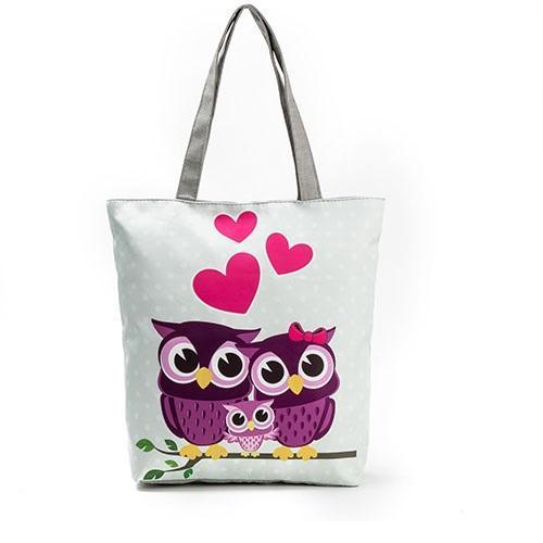 Printed Owls Canvas Tote Bag V2-Boots N Bags Heaven