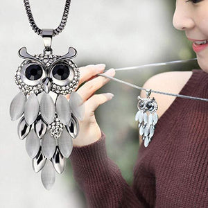 Rhinestone Gem Droplet Owl Necklace - Rhinestone Gem Droplet Owl Necklace- Owl Jewelry