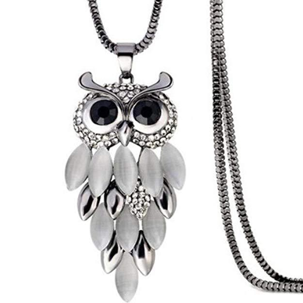 Rhinestone Gem Droplet Owl Necklace- Owl Jewelry-Boots N Bags Heaven