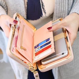 Ribbon Clutch Wallet With Phone Holder - Ribbon Clutch Wallet With Phone Holder