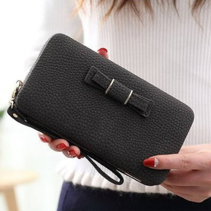 Ribbon Clutch Wallet with Phone Holder-Boots N Bags Heaven