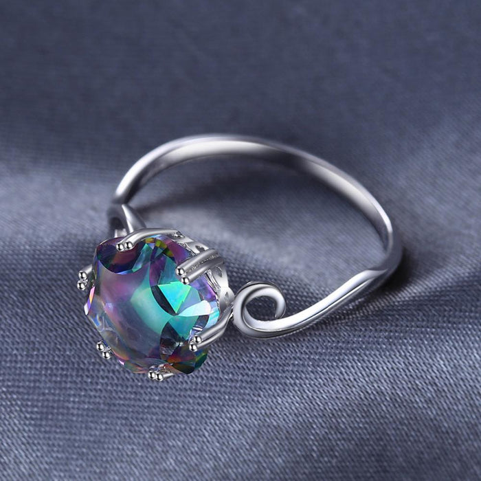 Hexagon Rainbow Topaz Sterling Silver Ring-Boots N Bags Heaven