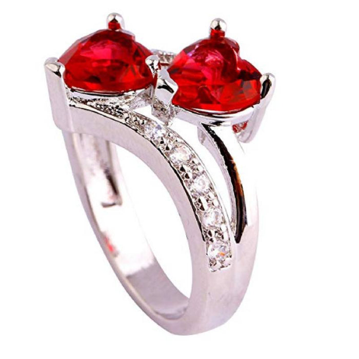Ruby and Topaz Heart Sterling Silver Ring-Boots N Bags Heaven