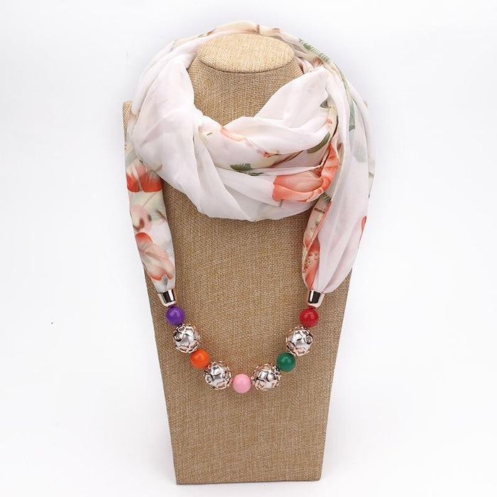 Summer Chiffon Scarf with Necklace-Boots N Bags Heaven