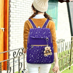 Starry Night Cute Backpack Set With Teddy Bear Keychain - Starry Night Cute Backpack Set With Teddy Bear Keychain