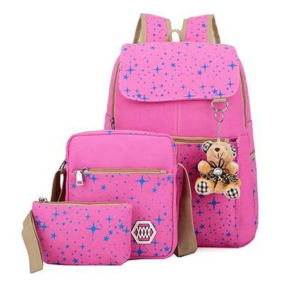 Starry Night Cute Backpack Set with Teddy Bear Keychain-Boots N Bags Heaven