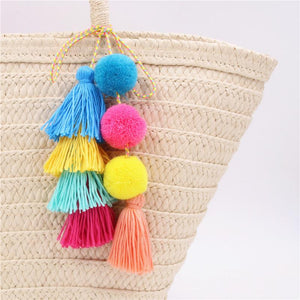 Summer Bag Decoration Colorful Pompom And Tassels Summer Bag Decoration - Colorful Pompom And Tassels Summer Bag Decoration
