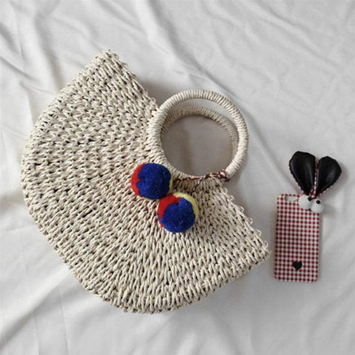 Summer Hand-weaved Bags with Pompom Keychains-Boots N Bags Heaven