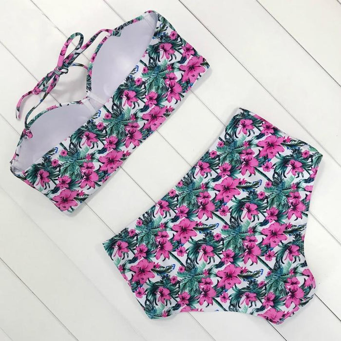 Vintage High Waist Floral Push Up Swimwear-Boots N Bags Heaven